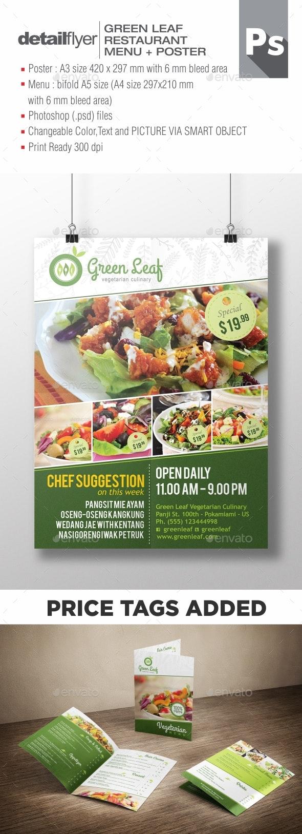 Vegetarian Restaurant Menu & Poster - Restaurant Flyers