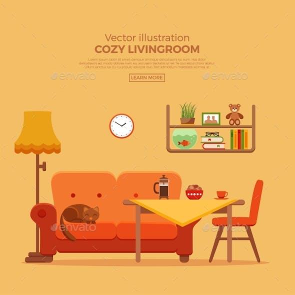 Living Room Cozy Colorful Cartoon Interior.