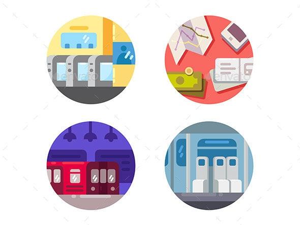 Subway Flat Icons
