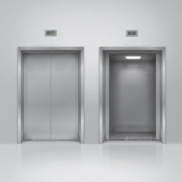 Open and Closed Chrome Metal Elevator Doors