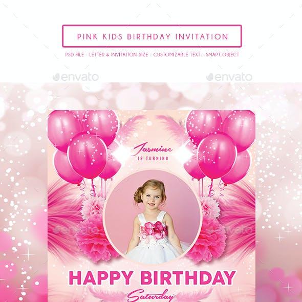 Pink Kids Birthday Invitation