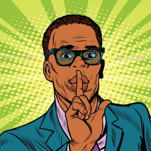 Businessman Gesture Shh Silence