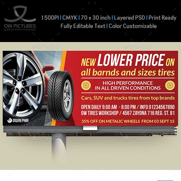 Tires Shop Billboard Template
