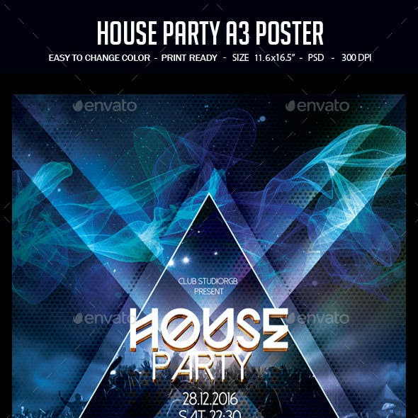 House Party A3 Poster