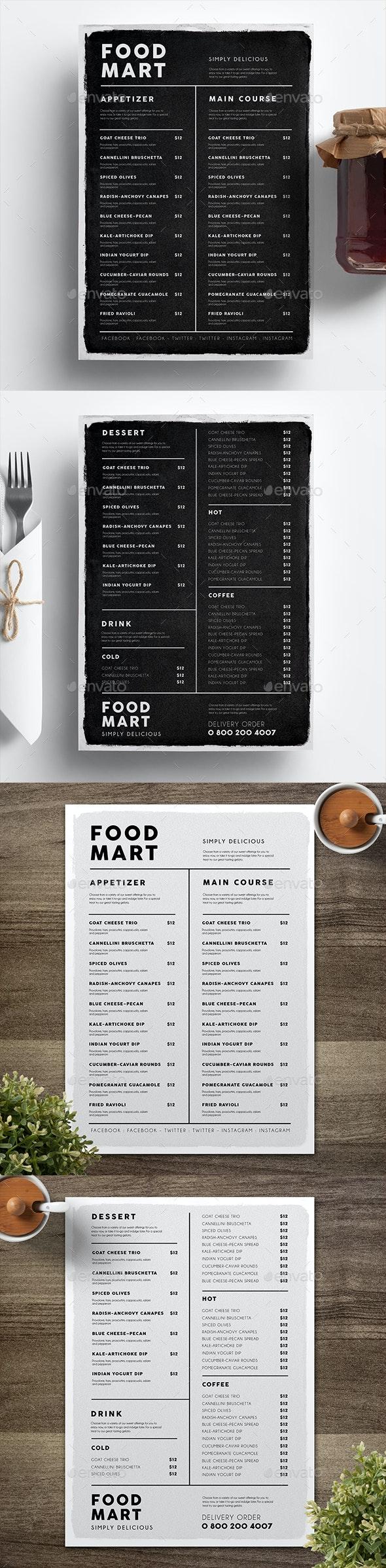 Simple Black & White Menu - Food Menus Print Templates
