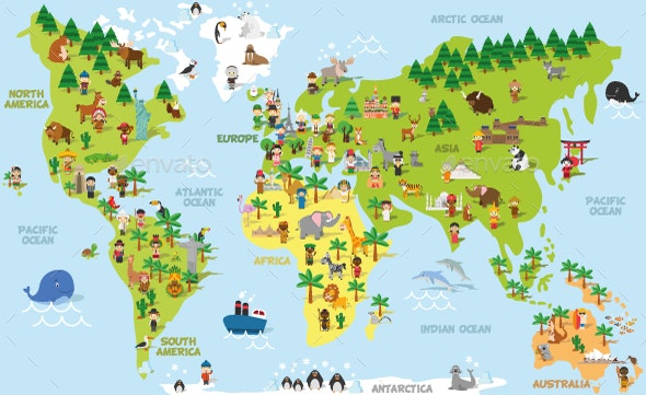 Cartoon World Map - Miscellaneous Vectors