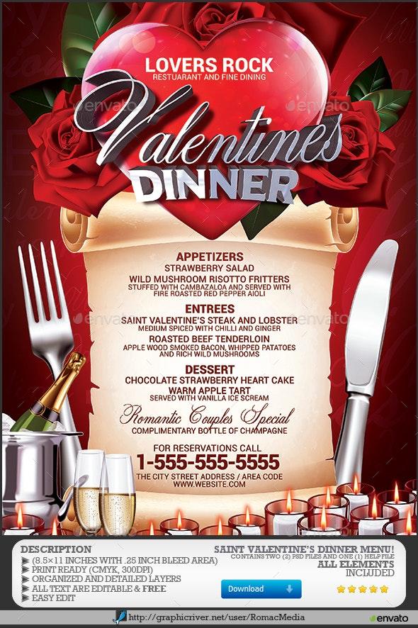 Valentine's Dinner Menu - Events Flyers