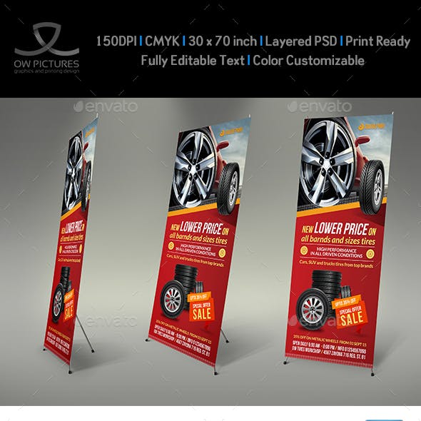 Tires Shop Signage Roll-Up Banner  Template