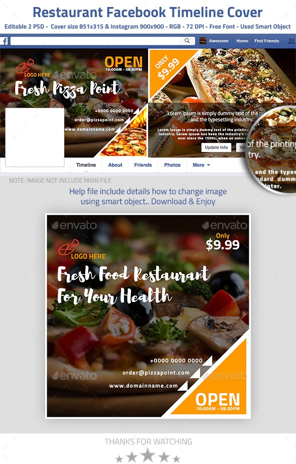 Food and Restaurant Facebook Timeline - Facebook Timeline Covers Social Media