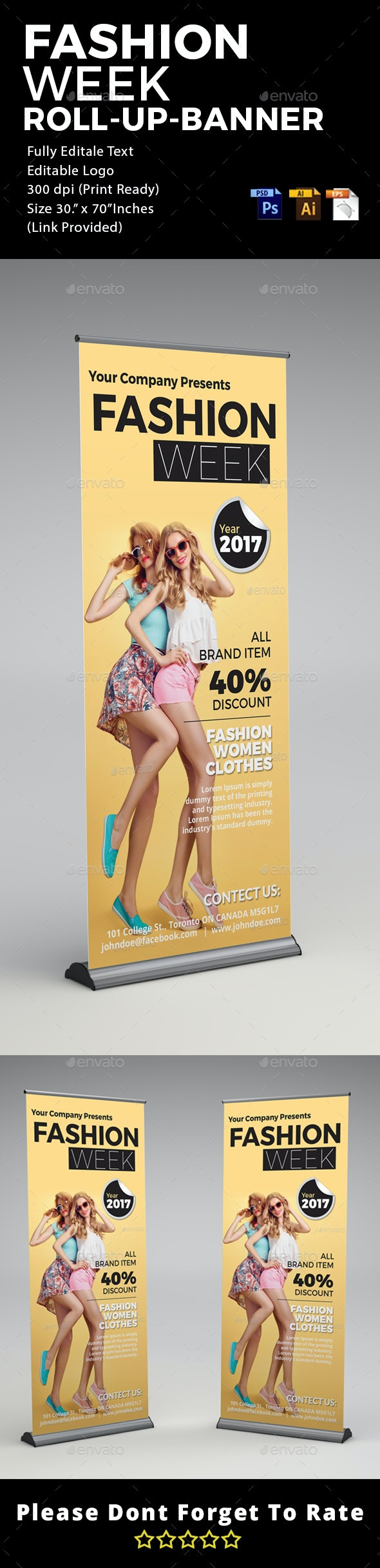 Fashion - Roll Up Banner Signage - Signage Print Templates