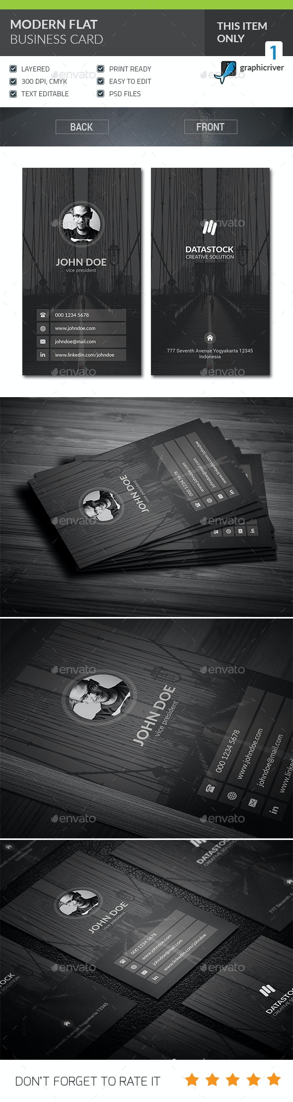Modern Flat Corporate Business Card - Corporate Business Cards