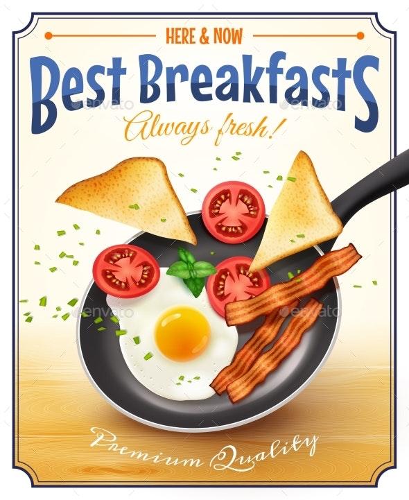Restaurant Breakfast Advertisement Retro Poster - Food Objects
