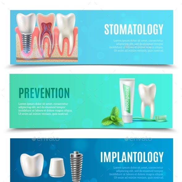 Dental Implants 3 Horizontal Banners Set