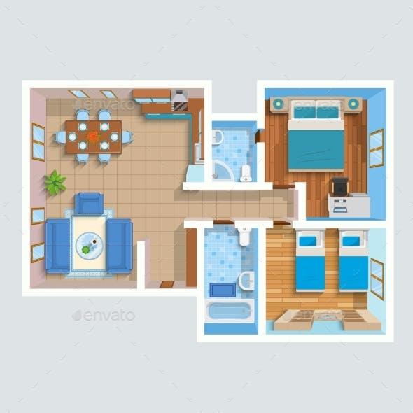 Top View Flat Interior Plan