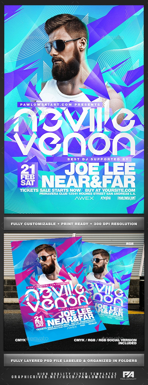Electro DJ Concert Party Flyer Template - Concerts Events