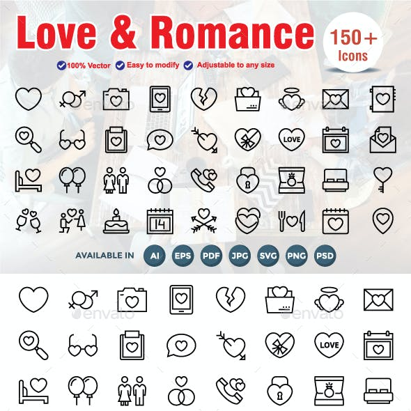 Love and Romance Line Icons