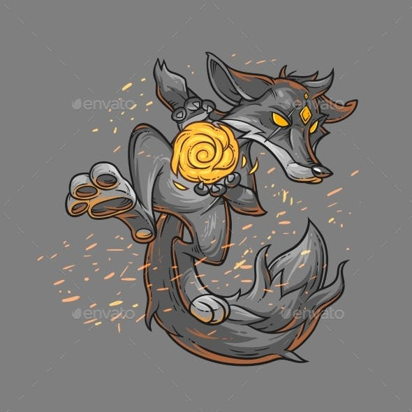 Vector Illustration of a Fire Fox.