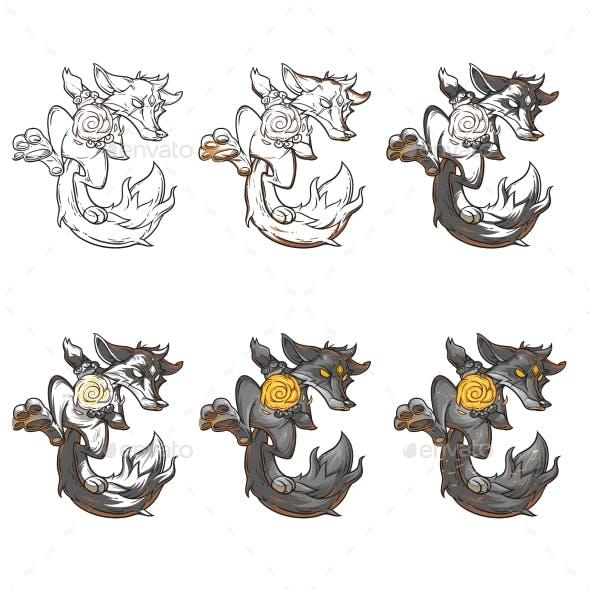 Set Vector Illustration of a Fire Fox.