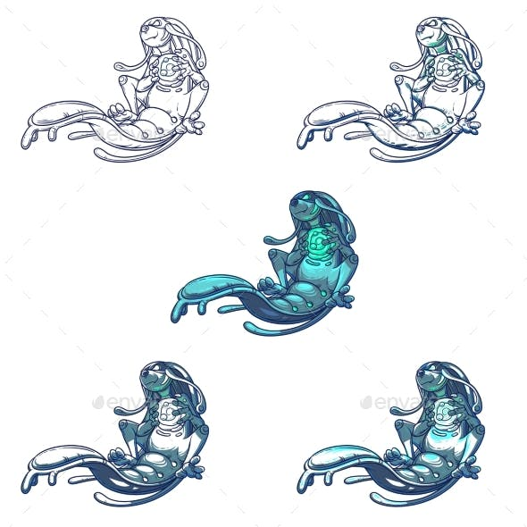 Set Vector Illustration of a Monster Water Element
