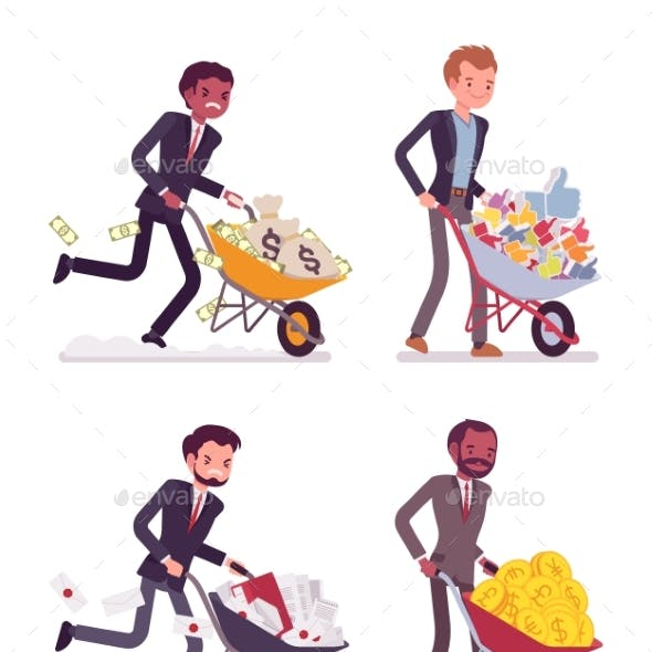 Set of Men Pushing Wheelbarrows with Coins