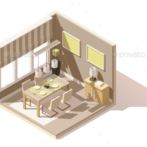Vector Isometric Low Poly Dining Room Icon