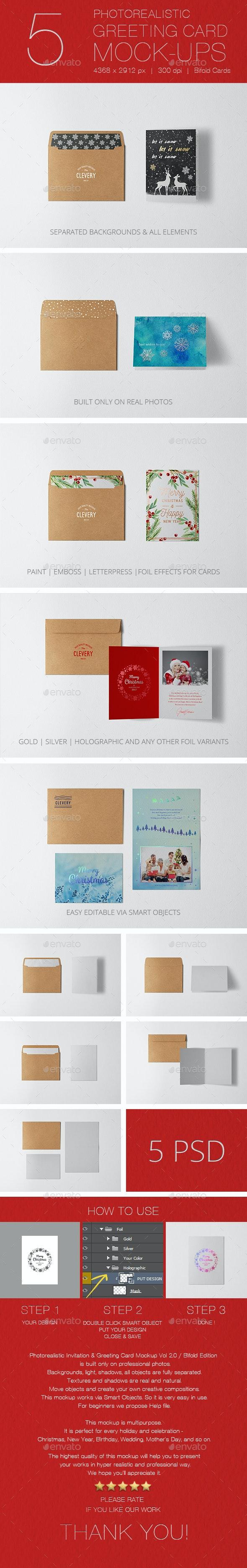 Photorealistic Invitation & Greeting Card Mockup Vol 2.0 / Bifold Edition - Miscellaneous Print