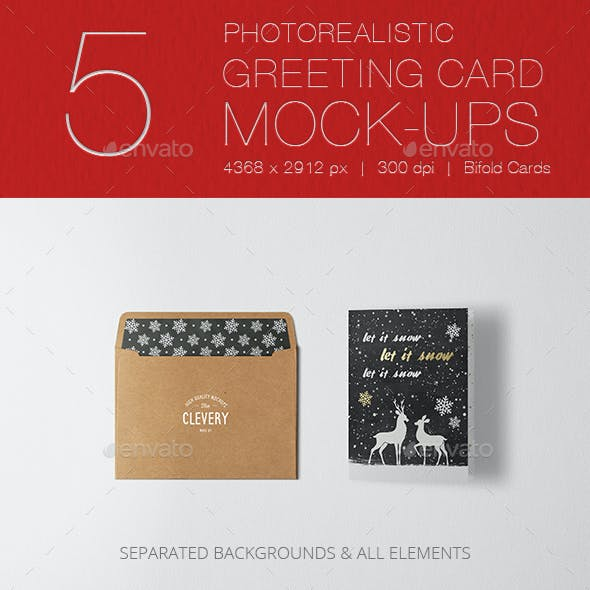 Photorealistic Invitation & Greeting Card Mockup Vol 2.0 / Bifold Edition