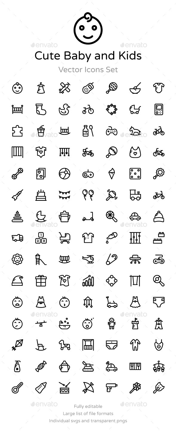 100 Cute Baby And Kids Vector Icons By Prosymbols Graphicriver