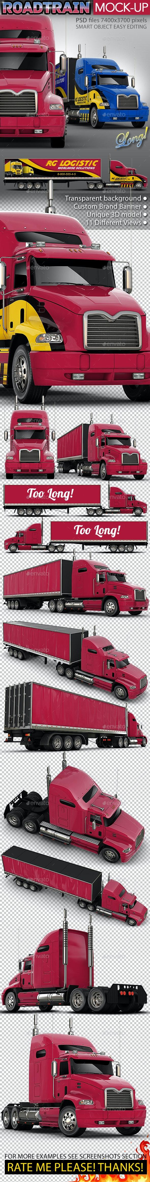 Semi-Trailer Truck Mock-up Based Mack Pinnacle - Vehicle Wraps Print
