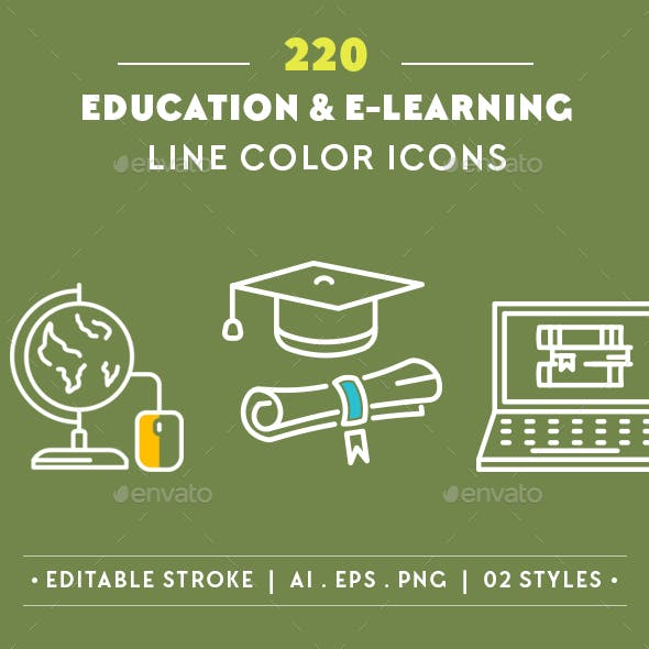 220 Education Line Icons