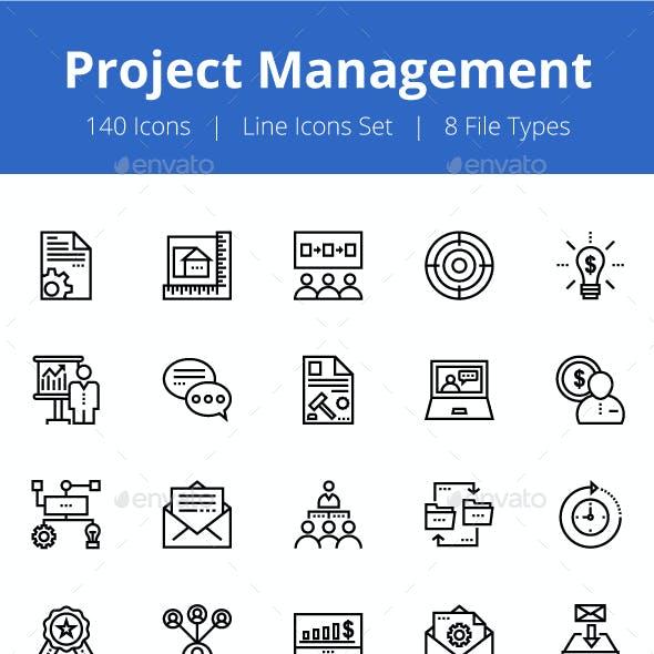 125+ Project Management Line Icons