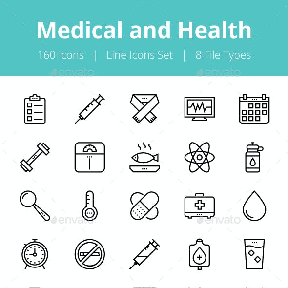 150+ Medical and Health Line Icons