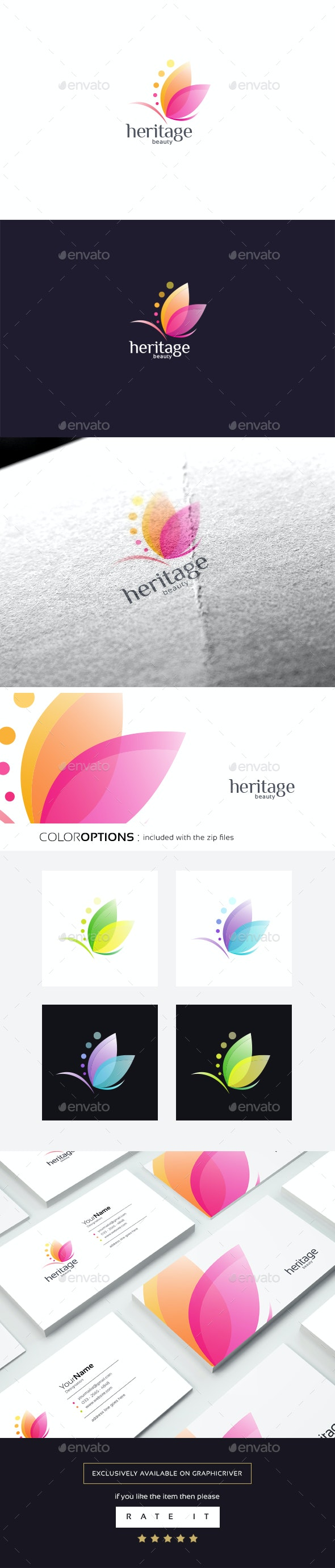 Heritage Beauty (Butterfly) logo - Nature Logo Templates