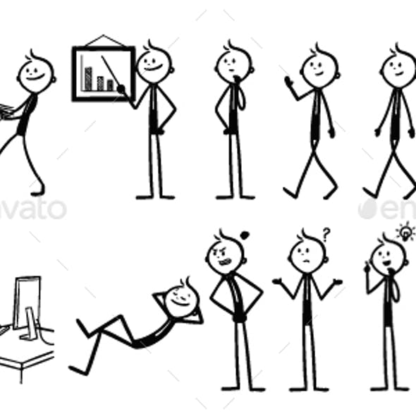 Set of Office Stick Figures