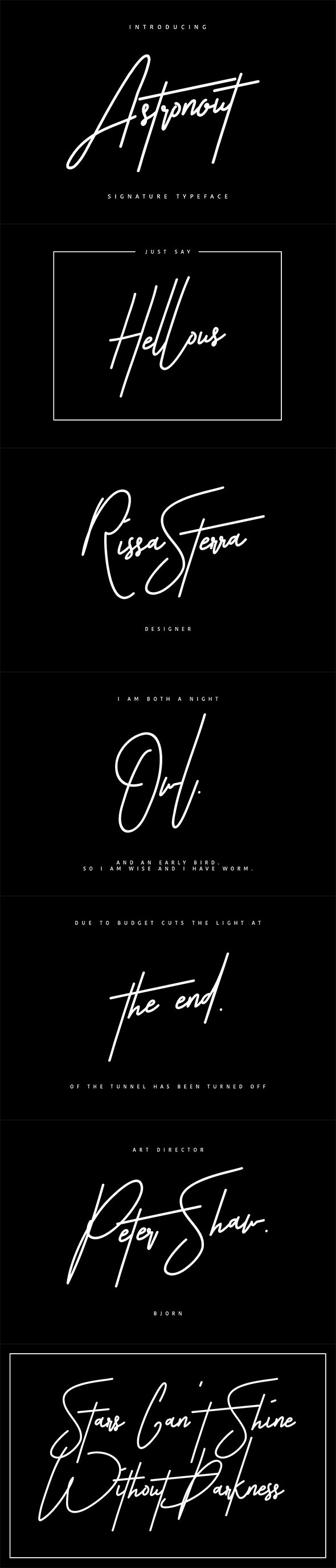 Astronout Signature Typeface Swash Update - Calligraphy Script