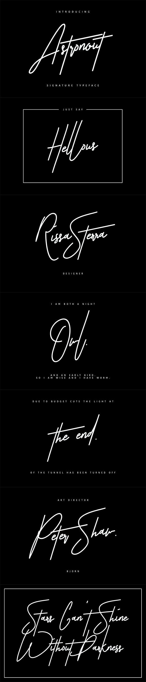 Astronout Signature Typeface - Calligraphy Script