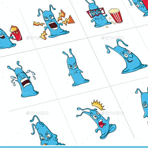 Cute Blue Cartoon Sticker Set