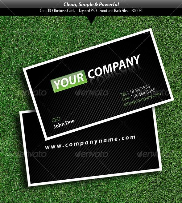 Clean, Simple, and Powerful Business Card - Corporate Business Cards