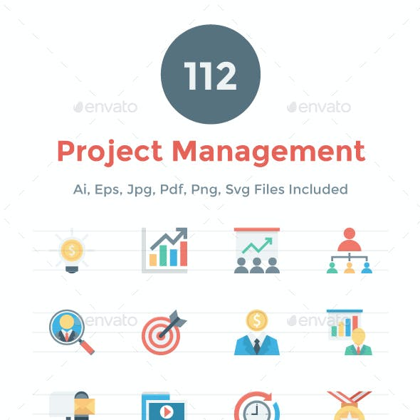 112 Flat Project Management Icons