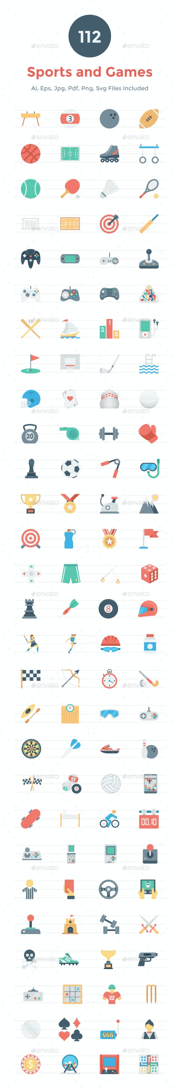 112 Flat Games and Sports Icons - Icons