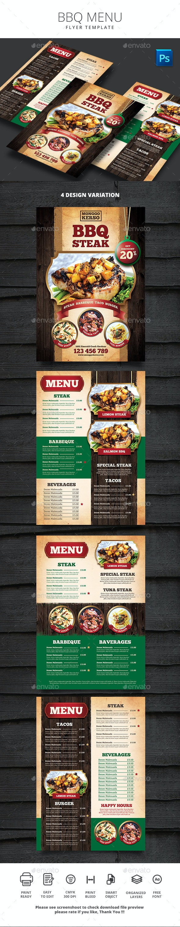 BBQ Menu - Food Menus Print Templates