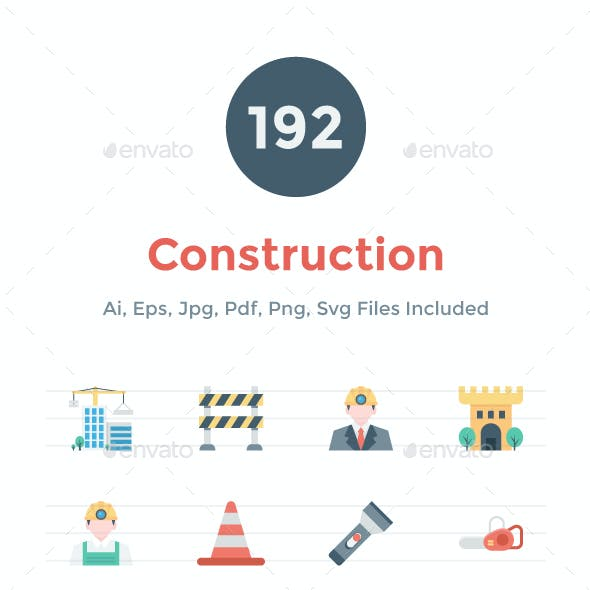 192 Flat Construction Icons