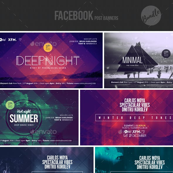 Electronic Music Event Facebook Post Banner Templates Bundle 1