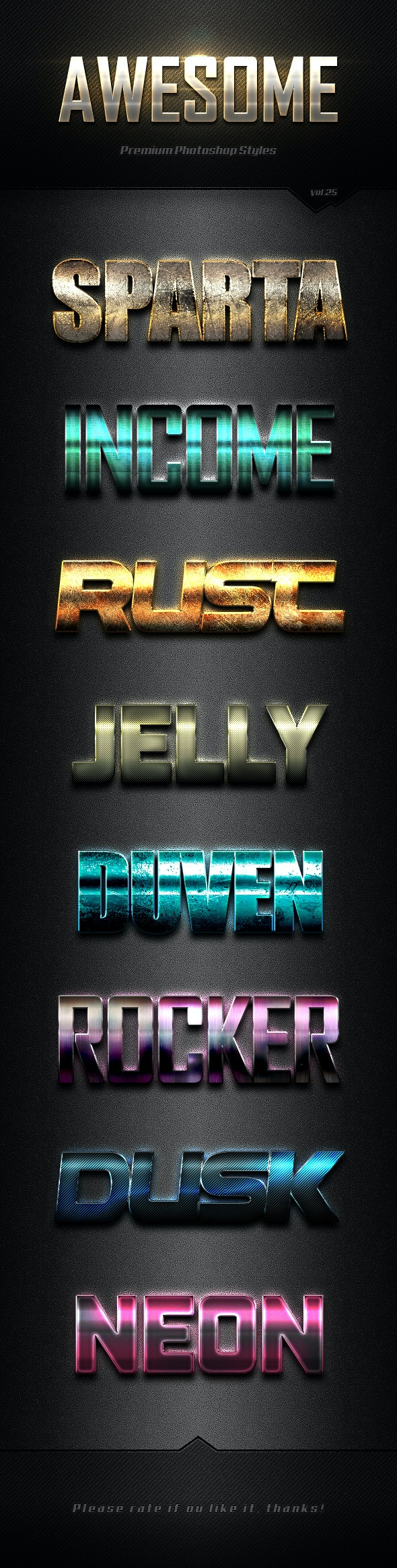 Photoshop Text Effects Vol.25 - Text Effects Styles