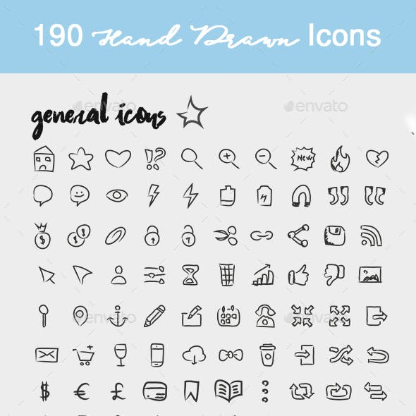 190 Hand Drawn Icons christmas and general icons