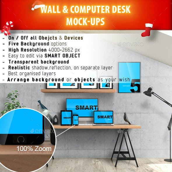 Wall & Computer Desk Mock-Ups