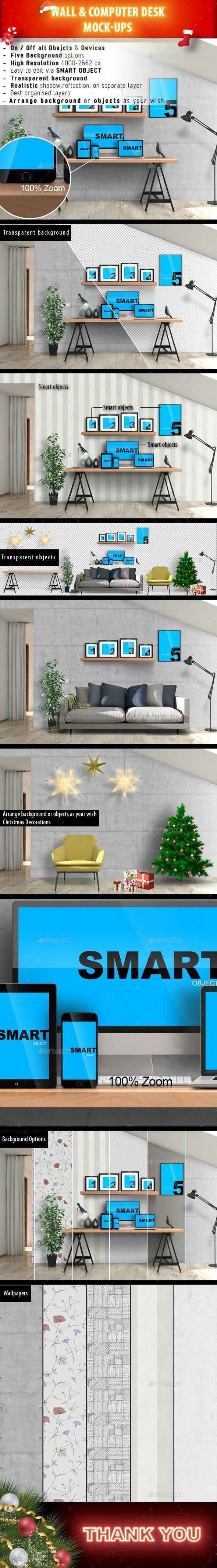 Wall & Computer Desk Mock-Ups - Product Mock-Ups Graphics
