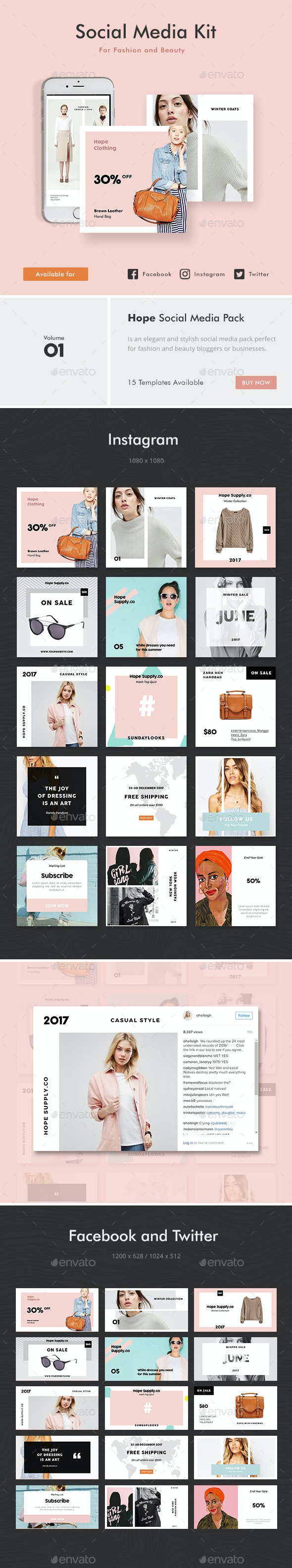 Social Media Kit 1 - Social Media Web Elements