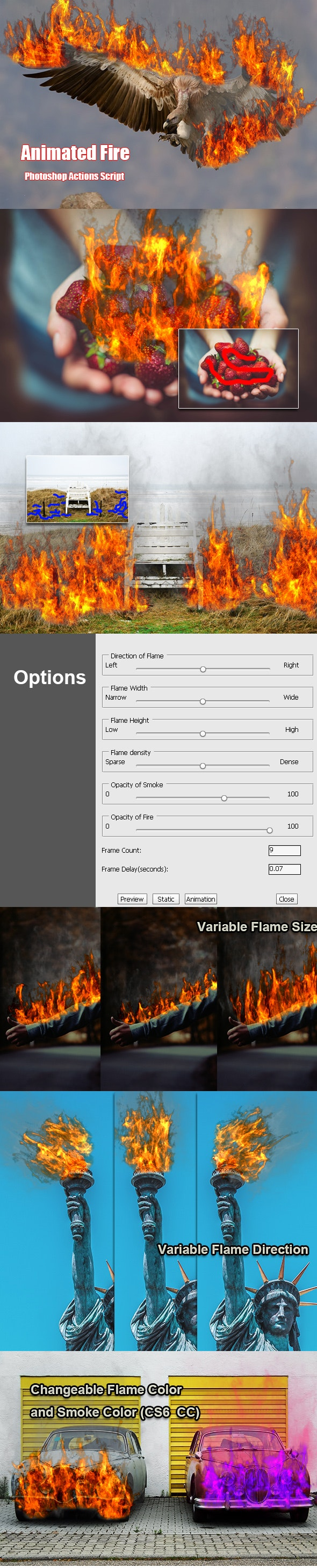 Animated Fire Photoshop Add-on - Photo Effects Actions