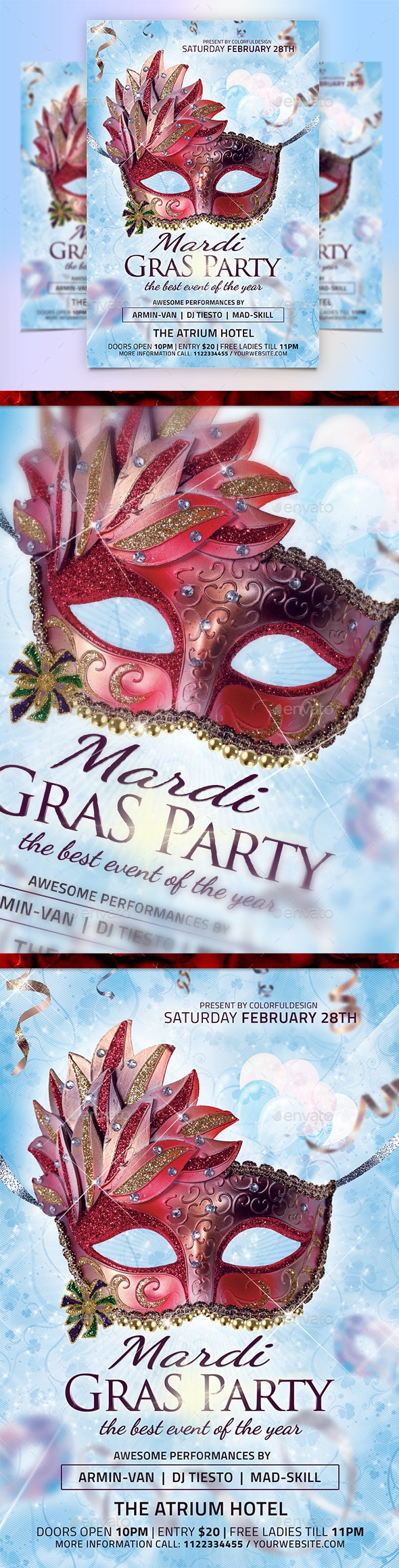 Mardi Gras / Carnival Flyer Template - Events Flyers